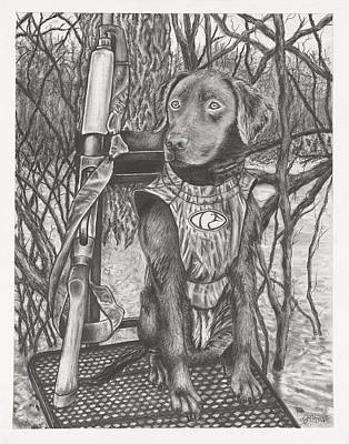 Duck Water Pencil Drawing - Hunting Partner by Jon Cotroneo