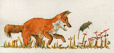 Fox Painting - Hunting Red Baby Fox by Juan  Bosco