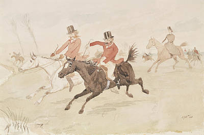 Horseman Drawing - Hunting Scene  by English School
