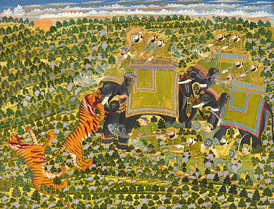 Fine Art India Painting - Hunting Tigers by Mountain Dreams