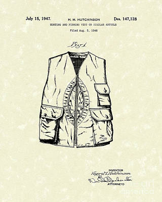 Drawing - Hunting Vest 1947 Patent Art by Prior Art Design