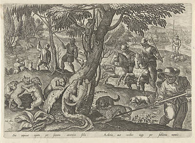 Wild Cat Drawing - Hunting Wild Cats, Philips Galle by Philips Galle