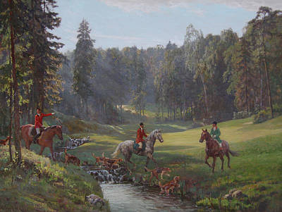 Hunting With Hounds Art Print by Korobkin Anatoly