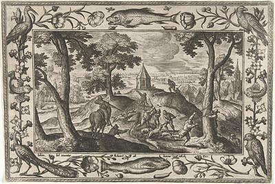 Hunting Wolves, Adriaen Collaert, Eduwart Hoes Winckel Print by Adriaen Collaert And Eduwart Hoes Winckel