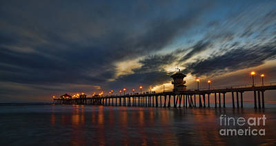 Huntington Beach At Night Art Print by Peter Dang