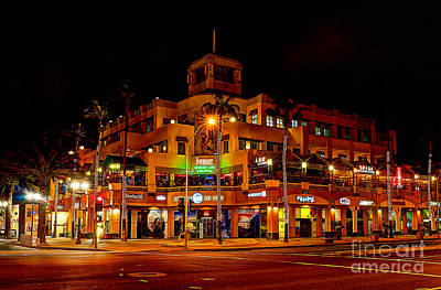 Huntington Beach Downtown Nightside 1 Art Print by Jim Carrell