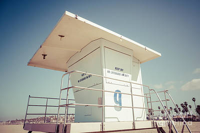 Huntington Beach Lifeguard Tower Retro Photo Art Print by Paul Velgos