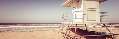 Shack Photograph - Huntington Beach Lifeguard Tower Vintage Panorama by Paul Velgos