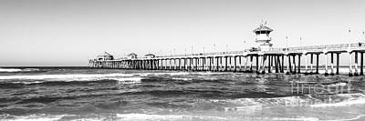 Huntington Beach California Photograph - Huntington Beach Pier Black And White Panorama by Paul Velgos