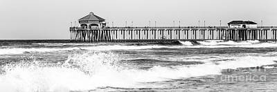 Huntington Beach California Photograph - Huntington Beach Pier Black And White Panoramic Picture by Paul Velgos