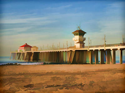 Cali Digital Art - Huntington Beach Pier California by Flo Karp