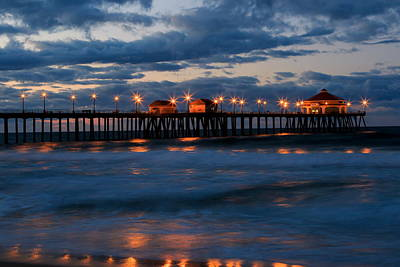 Huntington Beach Pier Lights  Art Print
