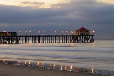 Huntington Beach Pier Morning Lights Art Print