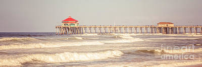 Huntington Beach Pier Retro Panoramic Picture Art Print