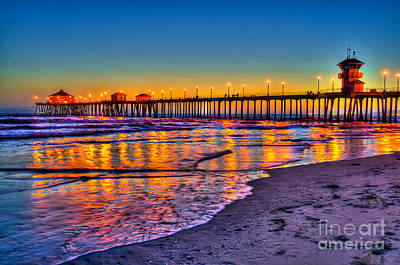 Huntington Beach Pier Sundown Art Print by Jim Carrell