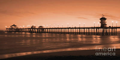 Huntington Beach Pier - Twilight Sepia Art Print by Jim Carrell