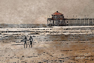 Mixed Media - Huntington Beach Surfers by Andrea Auletta