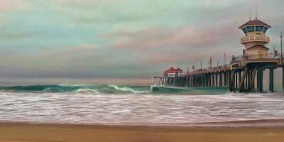 Pier Digital Art - Huntington Beach Morning by Dale Jackson