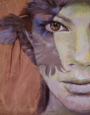 Crow Painting - Huntress by Michael Creese