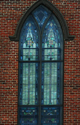 Photograph - Stained Glass Arch Window by Lesa Fine