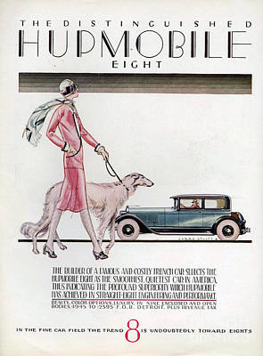 Vintage Automobile Drawing - Hupmobile  1926 1920s Usa Cc Cars Dogs by The Advertising Archives