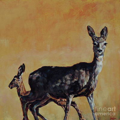 Mule Deer Fawn Painting - Hurricane Child by Patricia A Griffin