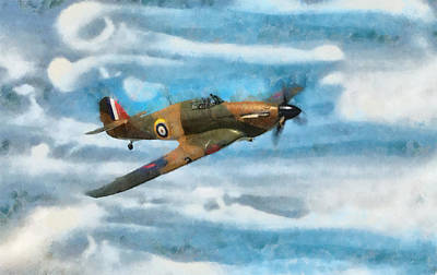 Hurricane Fighter Watercolour Art Print
