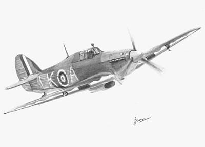 Raf Drawing - Hurricane by Ian Johnson