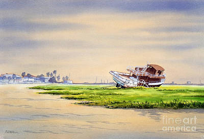 Galveston Painting - Hurricane Ike Boat Wreck Freeport Texas by Bill Holkham
