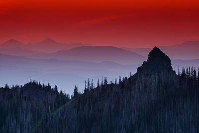 Photograph - Hurricane Ridge Sunset Vista by Mark Kiver
