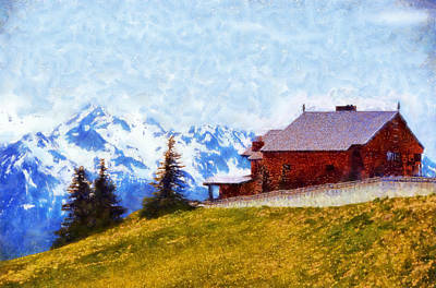Digital Art - Hurricane Ridge Visitor Center by Kaylee Mason