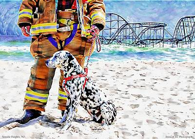 Hurricane Sandy Fireman And Dog  Art Print by Jessica Cirz