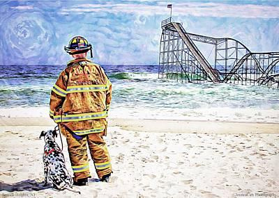 Jetstar Photograph - Hurricane Sandy Fireman by Jessica Cirz