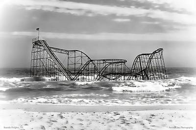 Jetstar Photograph - Hurricane Sandy Jetstar Roller Coaster Black And White by Jessica Cirz