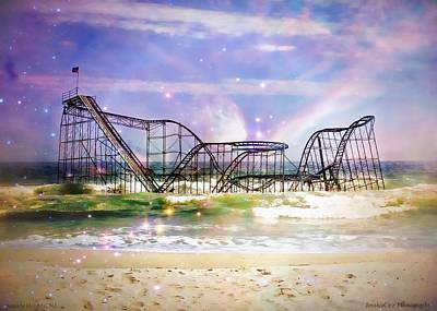 New Jersey Beach Coaster In Water Damage Photograph - Hurricane Sandy Jetstar Roller Coaster Fantasy by Jessica Cirz