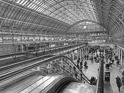 Hurrying For The Train At St Pancras Station Art Print by Gill Billington