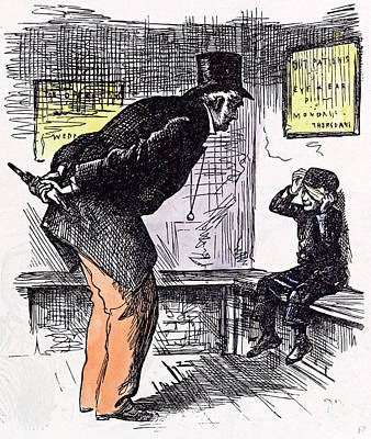 Hurt Boy 1873 Hitting Question Old Man Eye And Ear Bench Art Print