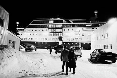 Hurtigruten Mv Midnatsol Ship Calling At Night In Vardo Finnmark Norway Europe Art Print