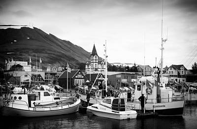 Photograph - Husavik Harbor In Iceland Black And White by Matthias Hauser