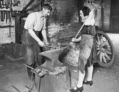 Two People Holding Hands Photograph - Husband & Wife Blacksmiths by Underwood Archives