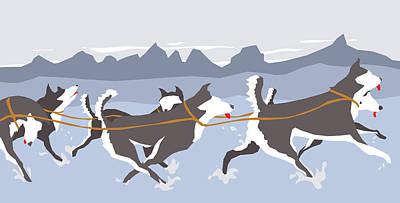 Whistler Digital Art - Huskies by Dry Climate Studios
