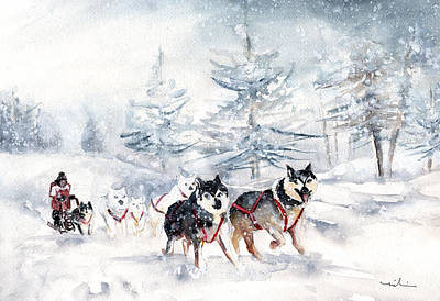 Painting - Huskies Sledge by Miki De Goodaboom