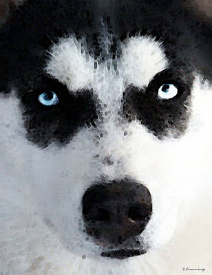 Black And White Painting - Husky Dog Art - Bat Man by Sharon Cummings