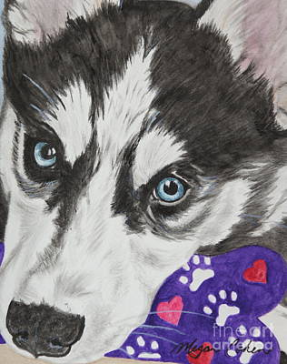 Dog Painting - Husky by Megan Cohen