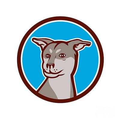 Siberian Husky Digital Art - Husky Shar Pei Cross Dog Head Cartoon by Aloysius Patrimonio