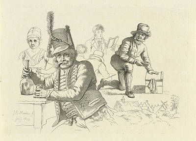 Glass Bottle Drawing - Hussar With Glass And Bottle On A Table, A Cobbler by Quint Lox