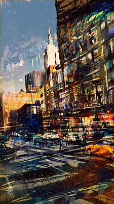 Empire State Building Mixed Media - Hustle Bustle by Russell Pierce