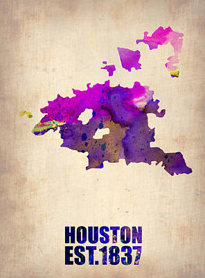 University Digital Art - Huston Watercolor Map by Naxart Studio