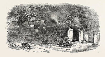 Aged Wood Drawing - Hut In The Middle Of The Hainault Forest by English School