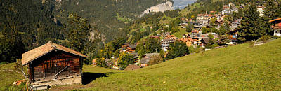 Lauterbrunnen Wall Art - Photograph - Hut With Village In The Background by Panoramic Images